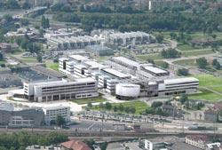 Photo en vue aérienne des futurs bâtiments de Minatec